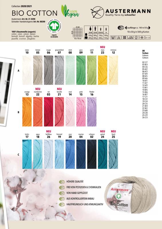 Bio Cotton kleurstalen